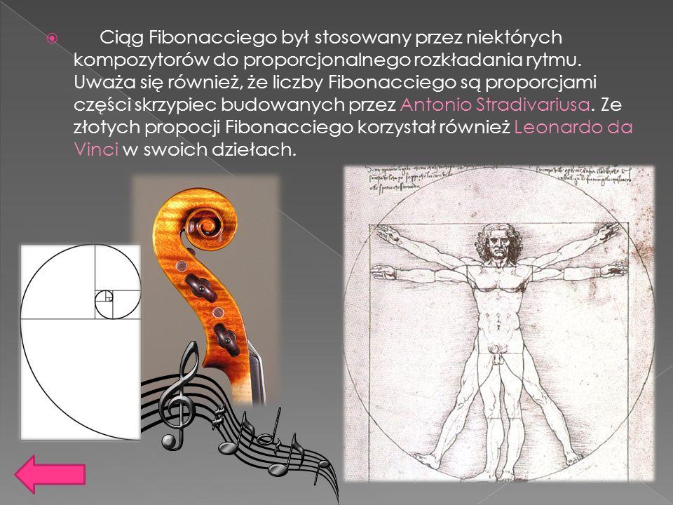 Ciąg Fibonacciego był stosowany przez niektórych kompozytorów do proporcjonalnego rozkładania rytmu. Uważa się również, że liczby Fibonacciego są prop