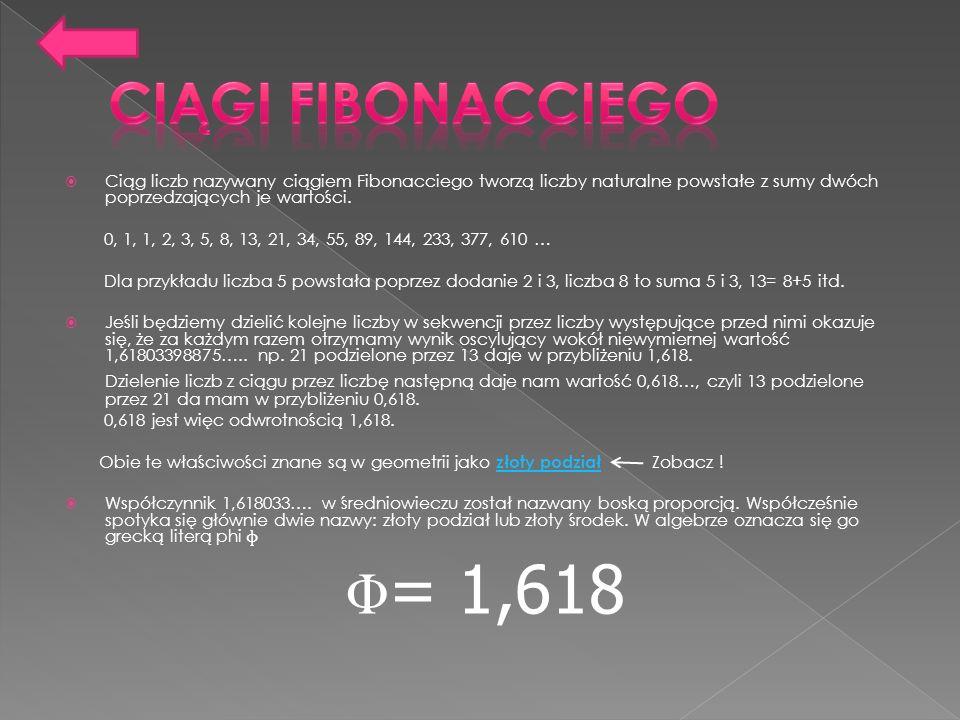 Ciąg liczb nazywany ciągiem Fibonacciego tworzą liczby naturalne powstałe z sumy dwóch poprzedzających je wartości. 0, 1, 1, 2, 3, 5, 8, 13, 21, 34, 5