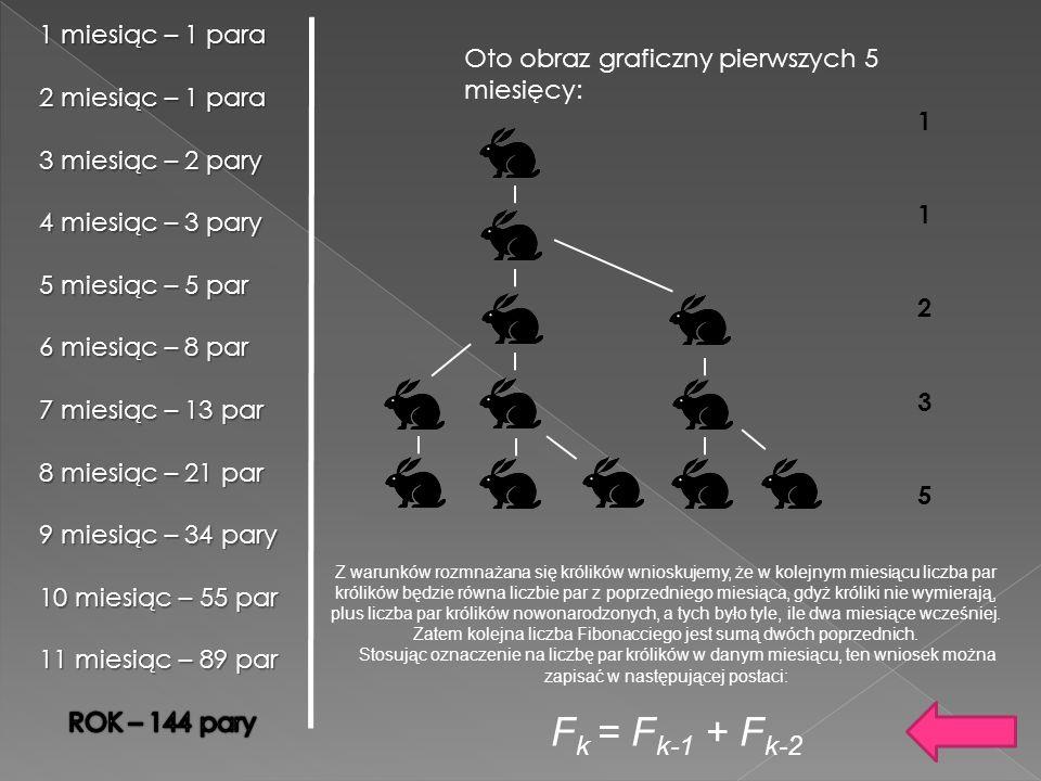 Oto obraz graficzny pierwszych 5 miesięcy: 1123511235 Z warunków rozmnażana się królików wnioskujemy, że w kolejnym miesiącu liczba par królików będzi