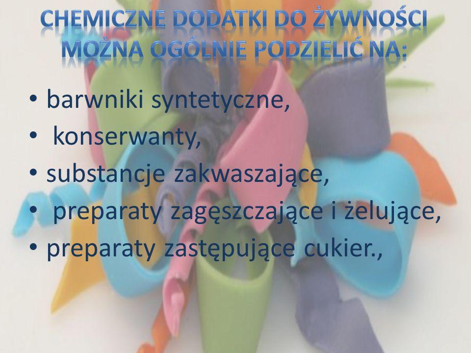 barwniki syntetyczne, konserwanty, substancje zakwaszające, preparaty zagęszczające i żelujące, preparaty zastępujące cukier.,