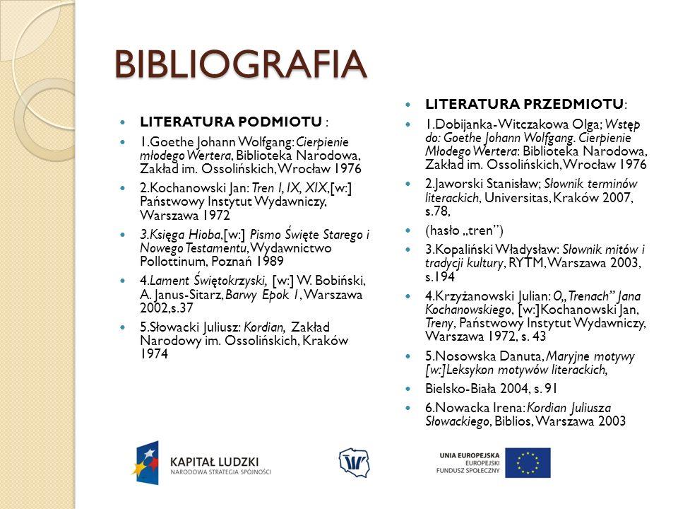 BIBLIOGRAFIA LITERATURA PODMIOTU : 1.Goethe Johann Wolfgang: Cierpienie młodego Wertera, Biblioteka Narodowa, Zakład im. Ossolińskich, Wrocław 1976 2.
