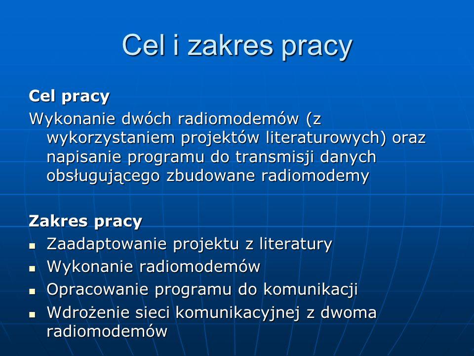 Cel i zakres pracy Cel pracy Wykonanie dwóch radiomodemów (z wykorzystaniem projektów literaturowych) oraz napisanie programu do transmisji danych obs