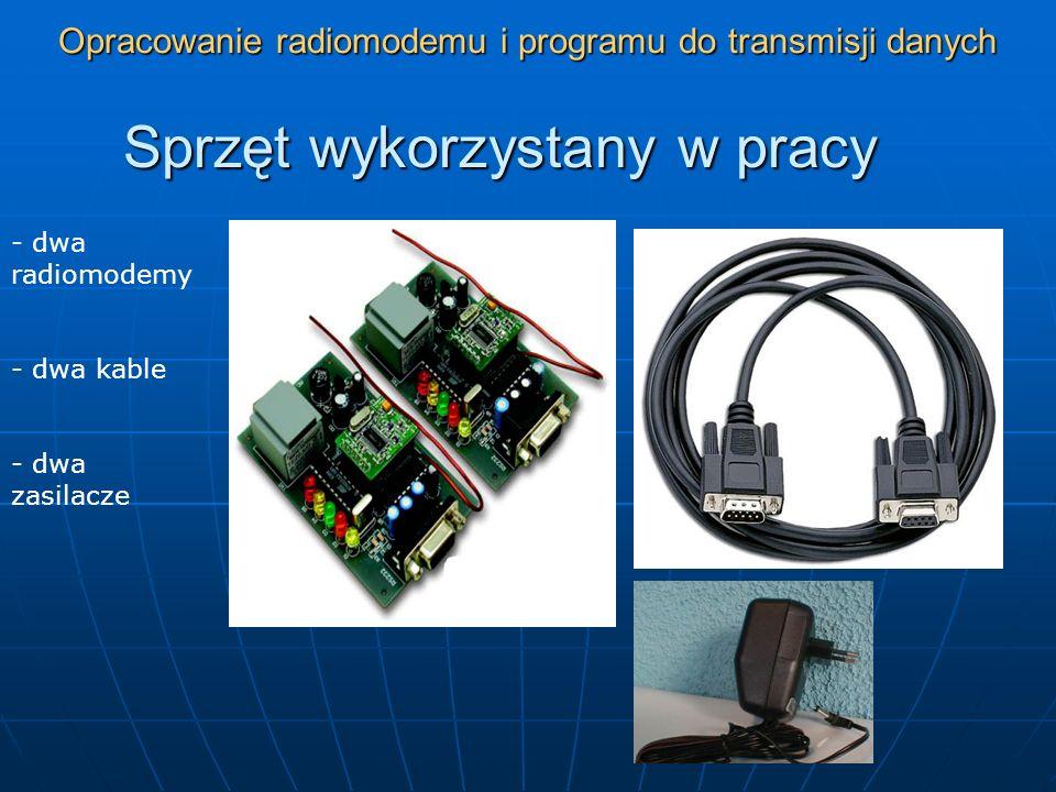 Opracowanie radiomodemu i programu do transmisji danych Sprzęt wykorzystany w pracy - dwa radiomodemy - dwa kable - dwa zasilacze