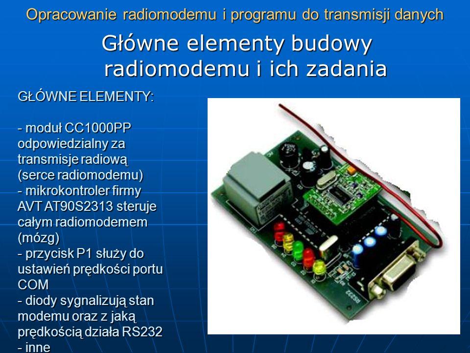 Opracowanie radiomodemu i programu do transmisji danych Główne elementy budowy radiomodemu i ich zadania GŁÓWNE ELEMENTY: - moduł CC1000PP odpowiedzia