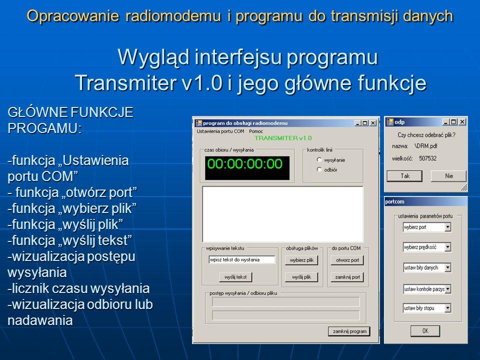 Opracowanie radiomodemu i programu do transmisji danych Funkcje zabezpieczające programu – obsługa wyjątków Gdy komputer nie posiada portów COM, użytkownik jest informowany o tym odpowiednim komunikatem (rys.1) Gdy port COM jest już używany, użytkownikowi programu ukaże się komunikat widoczny na rys.2 Rys.