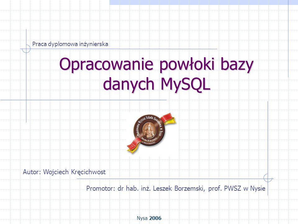 Opracowanie powłoki bazy danych MySQL Promotor: dr hab. inż. Leszek Borzemski, prof. PWSZ w Nysie Praca dyplomowa inżynierska Autor: Wojciech Kręcichw