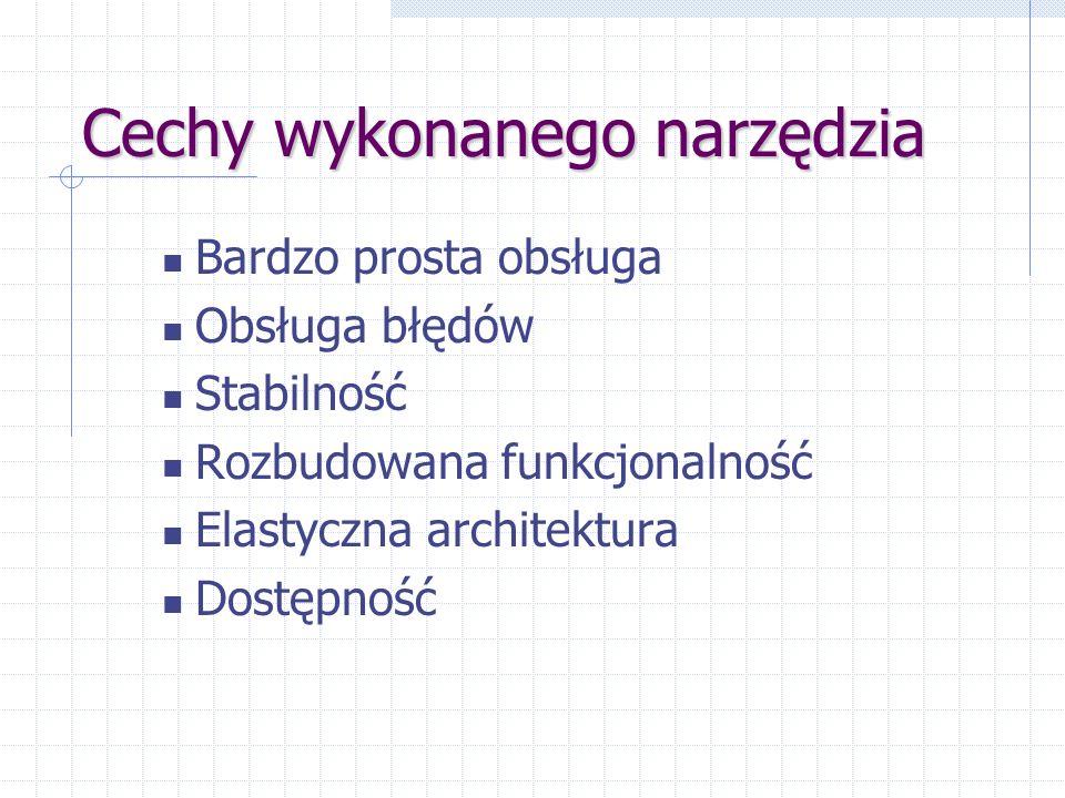 Cechy wykonanego narzędzia Bardzo prosta obsługa Obsługa błędów Stabilność Rozbudowana funkcjonalność Elastyczna architektura Dostępność