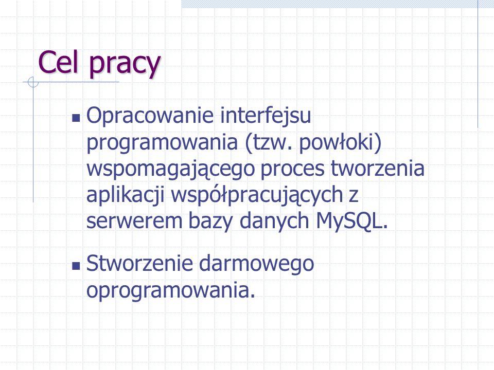 Cel pracy Opracowanie interfejsu programowania (tzw. powłoki) wspomagającego proces tworzenia aplikacji współpracujących z serwerem bazy danych MySQL.
