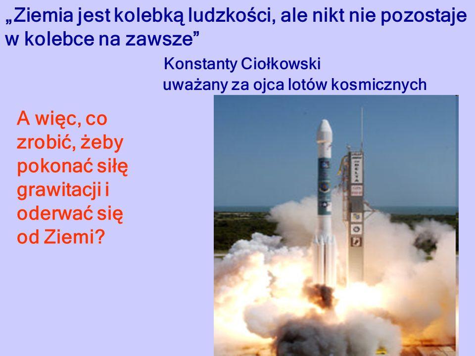 Ziemia jest kolebką ludzkości, ale nikt nie pozostaje w kolebce na zawsze Konstanty Ciołkowski uważany za ojca lotów kosmicznych A więc, co zrobić, że