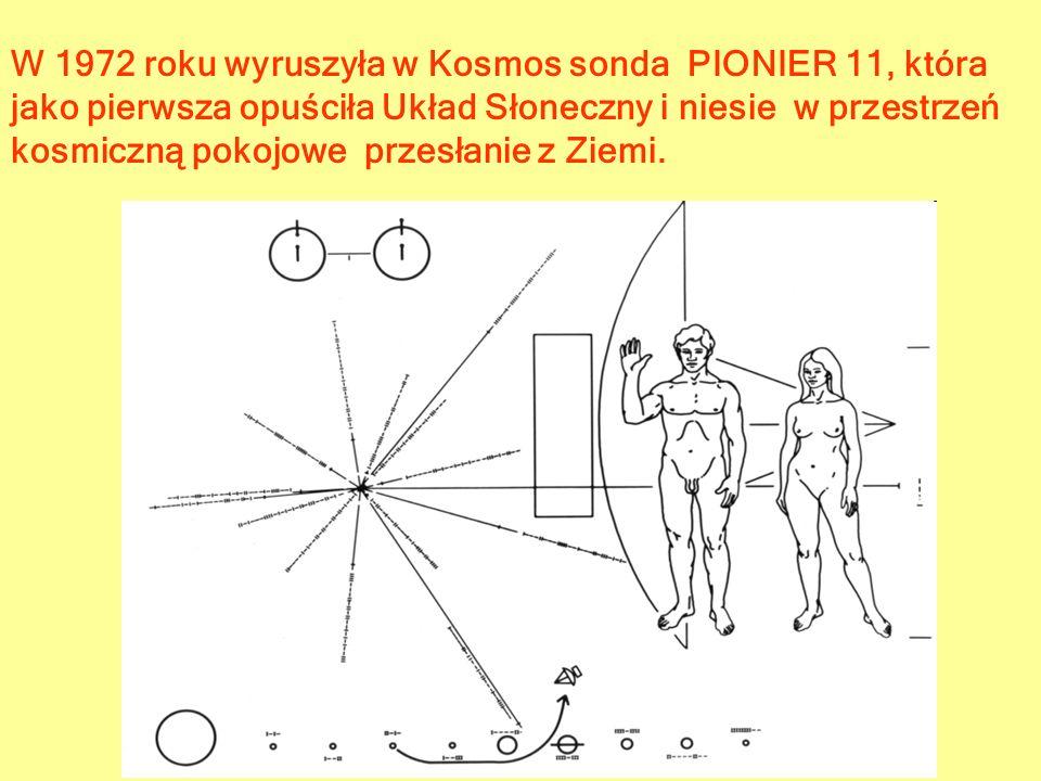 W 1972 roku wyruszyła w Kosmos sonda PIONIER 11, która jako pierwsza opuściła Układ Słoneczny i niesie w przestrzeń kosmiczną pokojowe przesłanie z Zi