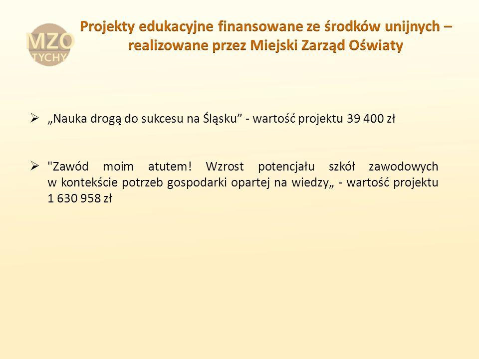 Nauka drogą do sukcesu na Śląsku - wartość projektu 39 400 zł Zawód moim atutem.