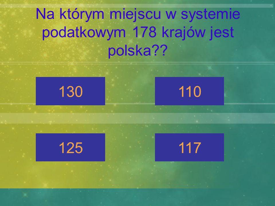 Na którym miejscu w systemie podatkowym 178 krajów jest polska?? 130 125117 110