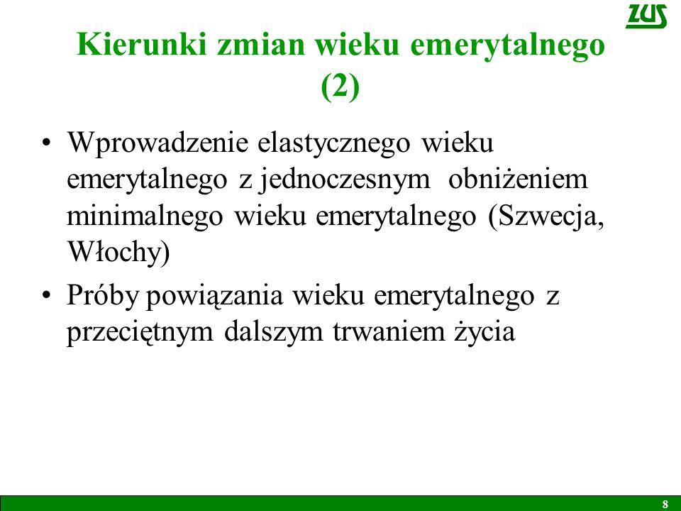 Wiek emerytalny a kapitałowy system emerytalny Wiek emerytalny nabrał większego znaczenia w krajach, które wprowadziły do systemu emerytalnego filar kapitałowy i system zdefiniowanej składki Wysokość emerytury jest wówczas ściśle uzależniona od momentu zaprzestania pracy Tego typu systemy wprowadziły kraje Europy Środkowo-Wschodniej (z wyjątkiem Czech) i Szwecja 9