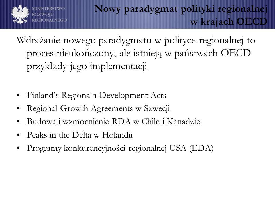 Nowy paradygmat polityki regionalnej w krajach OECD Wdrażanie nowego paradygmatu w polityce regionalnej to proces nieukończony, ale istnieją w państwa