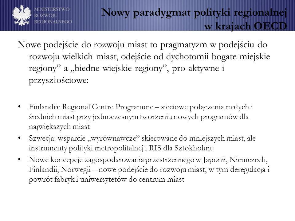 Nowy paradygmat polityki regionalnej w krajach OECD Nowe podejście do rozwoju miast to pragmatyzm w podejściu do rozwoju wielkich miast, odejście od dychotomii bogate miejskie regiony a biedne wiejskie regiony, pro-aktywne i przyszłościowe: Finlandia: Regional Centre Programme – sieciowe połączenia małych i średnich miast przy jednoczesnym tworzeniu nowych programów dla największych miast Szwecja: wsparcie wyrównawcze skierowane do mniejszych miast, ale instrumenty polityki metropolitalnej i RIS dla Sztokholmu Nowe koncepcje zagospodarowania przestrzennego w Japonii, Niemczech, Finlandii, Norwegii – nowe podejście do rozwoju miast, w tym deregulacja i powrót fabryk i uniwersytetów do centrum miast