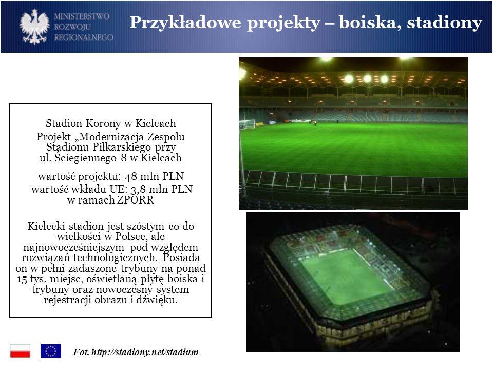 Stadion Korony w Kielcach Projekt Modernizacja Zespołu Stadionu Piłkarskiego przy ul. Ściegiennego 8 w Kielcach wartość projektu : 48 mln PLN wartość