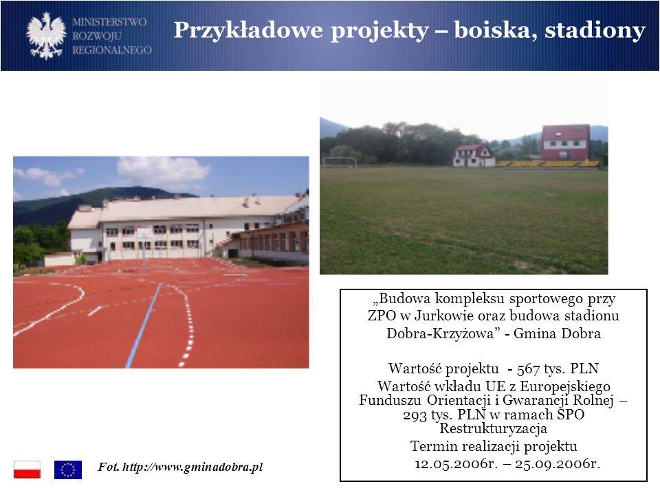Budowa kompleksu sportowego przy ZPO w Jurkowie oraz budowa stadionu Dobra-Krzyżowa - Gmina Dobra Wartość projektu - 567 tys. PLN Wartość wkładu UE z