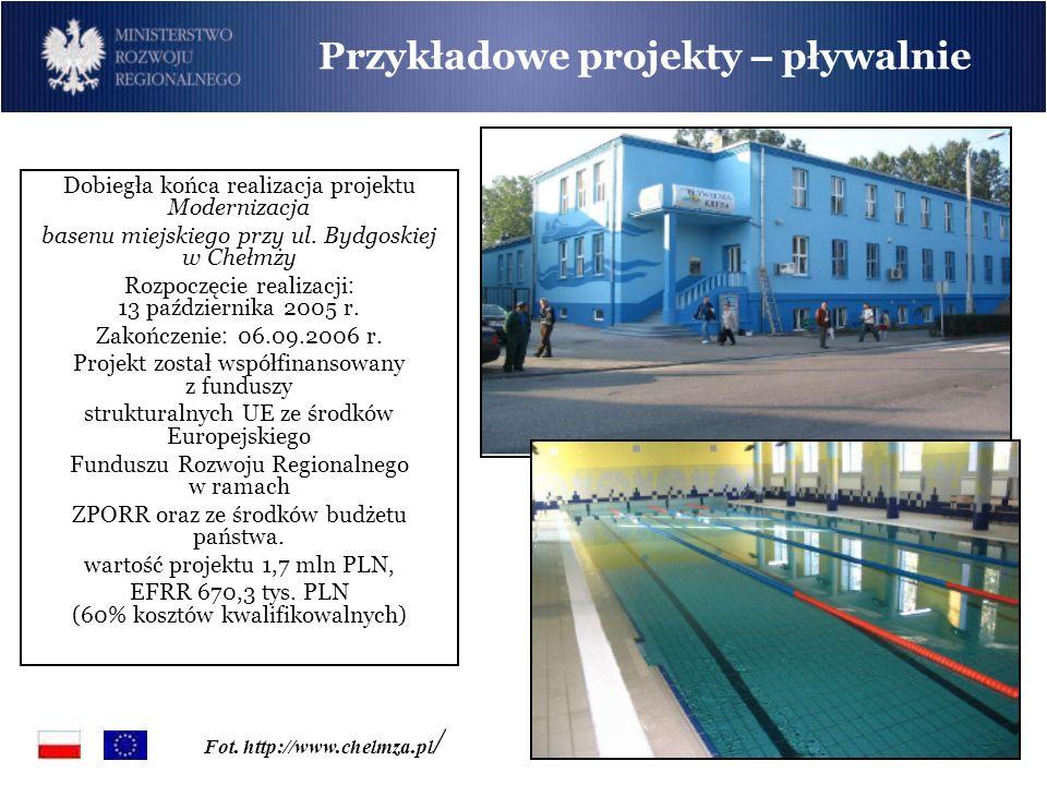 Dobiegła końca realizacja projektu Modernizacja basenu miejskiego przy ul. Bydgoskiej w Chełmży Rozpoczęcie realizacji : 13 października 2005 r. Zakoń