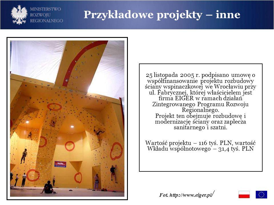 Przykładowe projekty – inne 25 listopada 2005 r. podpisano umowę o współfinansowanie projektu rozbudowy ściany wspinaczkowej we Wrocławiu przy ul. Fab