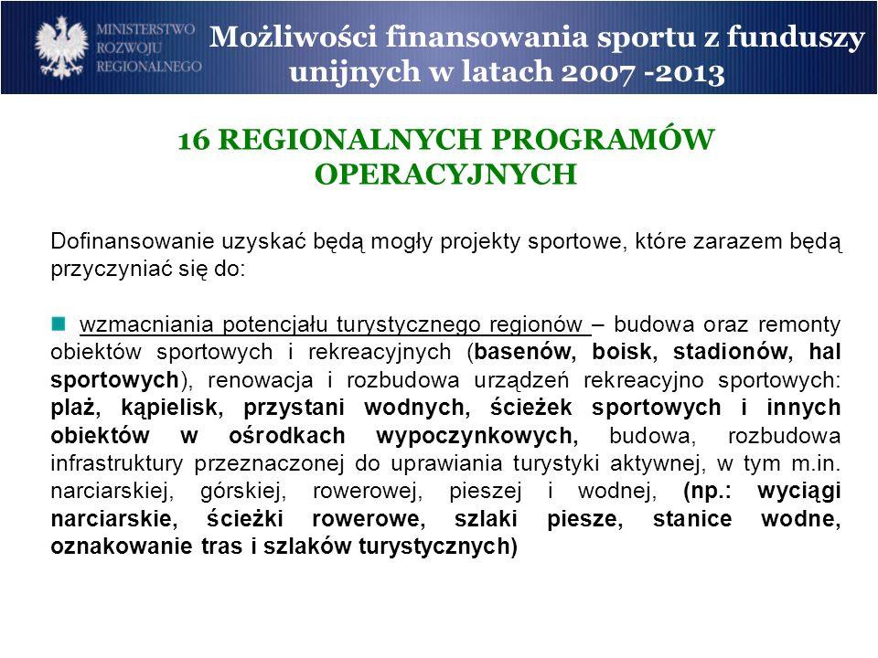 16 REGIONALNYCH PROGRAMÓW OPERACYJNYCH Dofinansowanie uzyskać będą mogły projekty sportowe, które zarazem będą przyczyniać się do: wzmacniania potencj