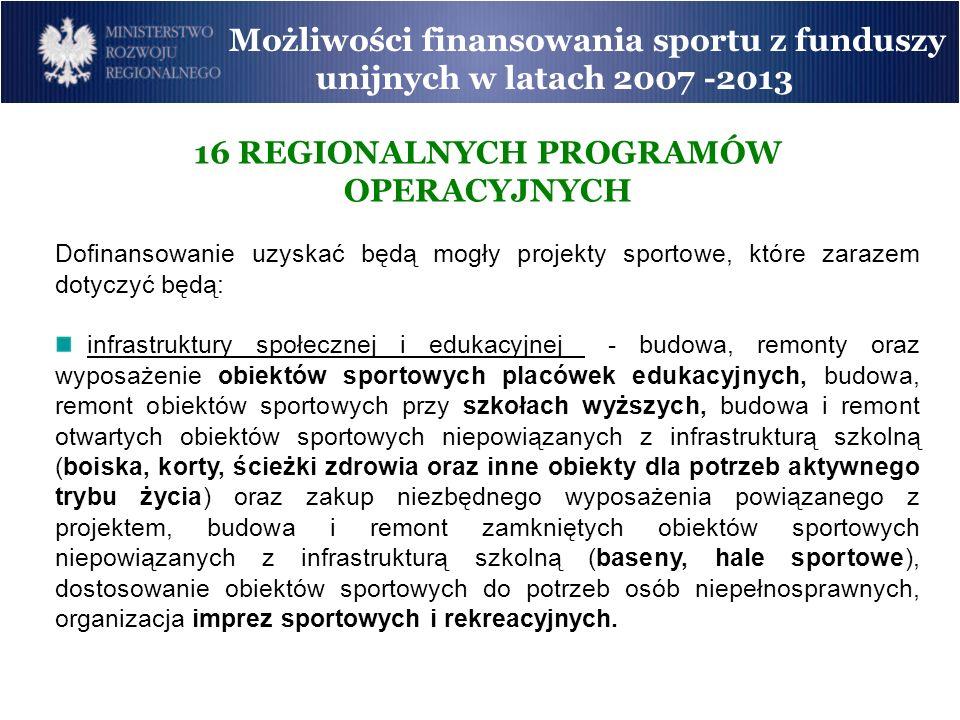 Możliwości finansowania sportu z funduszy unijnych w latach 2007 -2013 16 REGIONALNYCH PROGRAMÓW OPERACYJNYCH Dofinansowanie uzyskać będą mogły projek