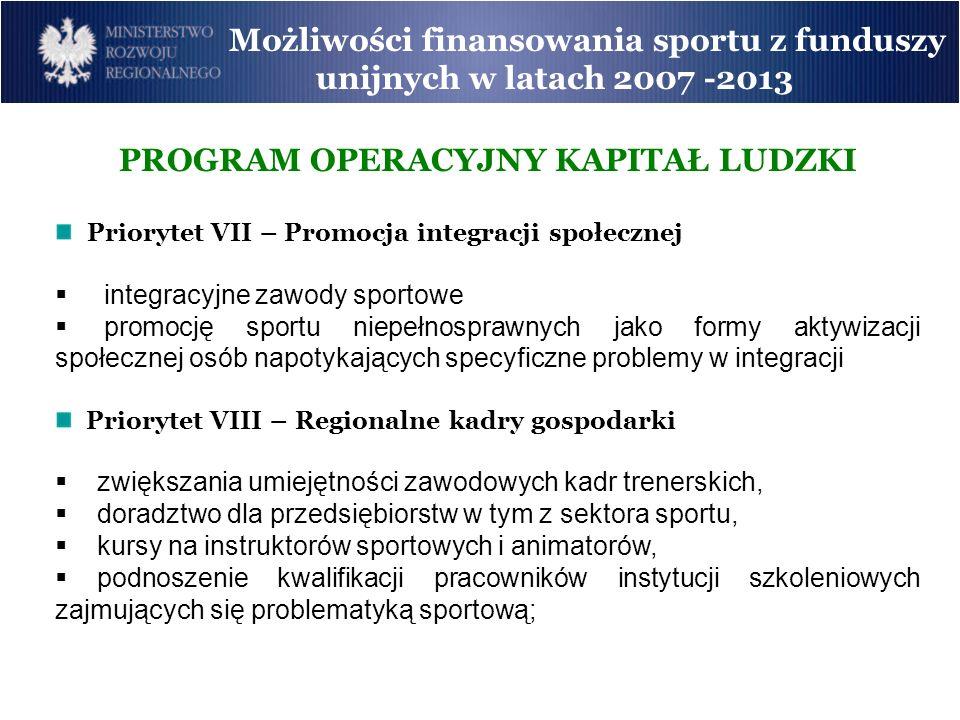 Możliwości finansowania sportu z funduszy unijnych w latach 2007 -2013 PROGRAM OPERACYJNY KAPITAŁ LUDZKI Priorytet VII – Promocja integracji społeczne