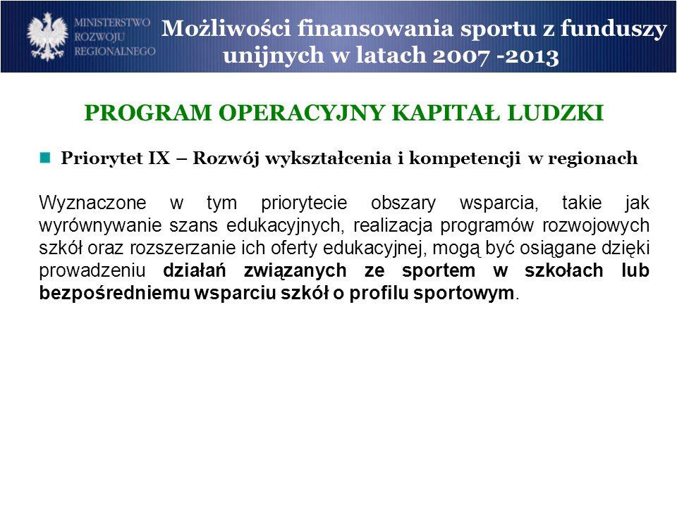 Możliwości finansowania sportu z funduszy unijnych w latach 2007 -2013 PROGRAM OPERACYJNY KAPITAŁ LUDZKI Priorytet IX – Rozwój wykształcenia i kompete