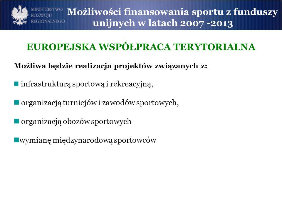Możliwości finansowania sportu z funduszy unijnych w latach 2007 -2013 EUROPEJSKA WSPÓŁPRACA TERYTORIALNA Możliwa będzie realizacja projektów związany