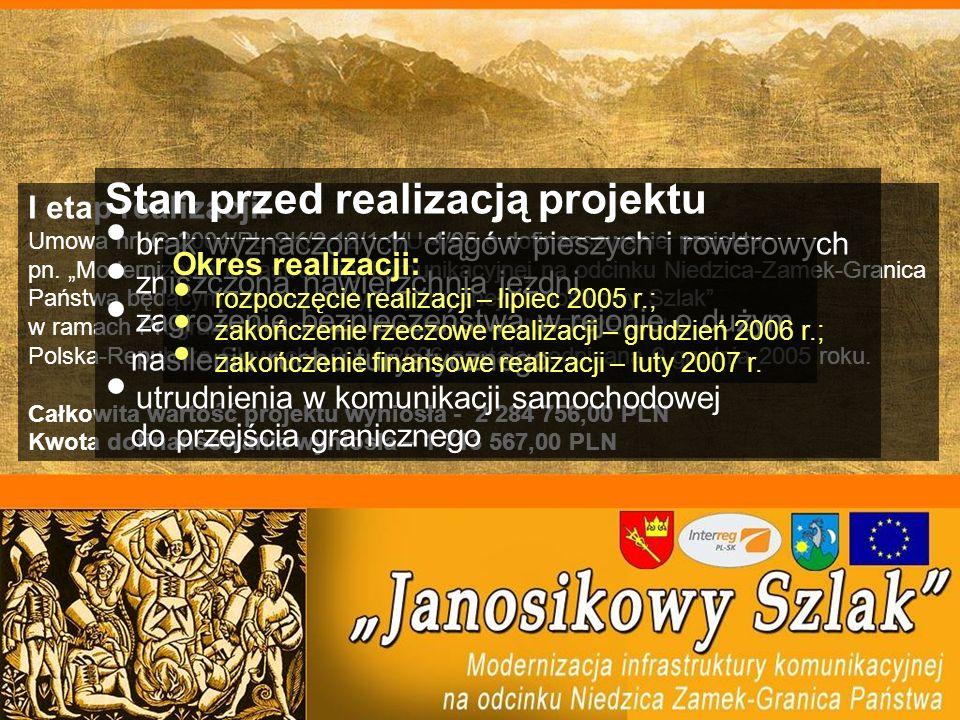 I etap realizacji: Umowa nr IG-2004/PL-SK/2.12/1.1/U-4/05 o dofinansowanie projektu pn. Modernizacja infrastruktury komunikacyjnej na odcinku Niedzica