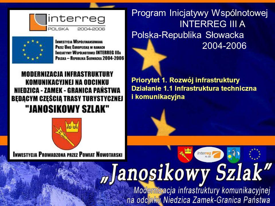 Program Inicjatywy Wspólnotowej INTERREG III A Polska-Republika Słowacka 2004-2006 Priorytet 1. Rozwój infrastruktury Działanie 1.1 Infrastruktura tec