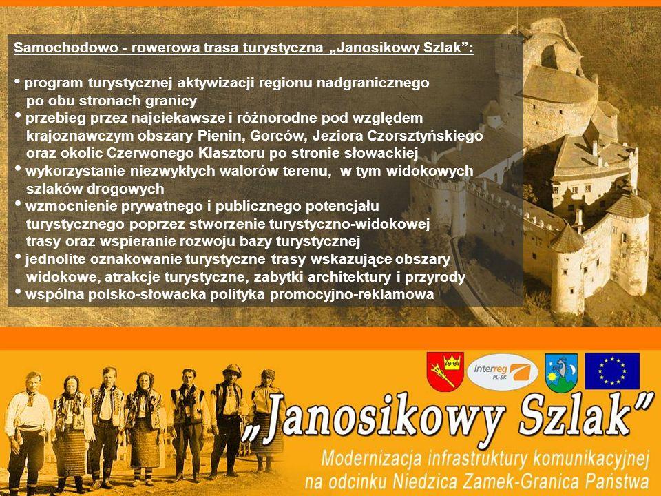 Samochodowo - rowerowa trasa turystyczna Janosikowy Szlak: program turystycznej aktywizacji regionu nadgranicznego po obu stronach granicy przebieg przez najciekawsze i różnorodne pod względem krajoznawczym obszary Pienin, Gorców, Jeziora Czorsztyńskiego oraz okolic Czerwonego Klasztoru po stronie słowackiej wykorzystanie niezwykłych walorów terenu, w tym widokowych szlaków drogowych wzmocnienie prywatnego i publicznego potencjału turystycznego poprzez stworzenie turystyczno-widokowej trasy oraz wspieranie rozwoju bazy turystycznej jednolite oznakowanie turystyczne trasy wskazujące obszary widokowe, atrakcje turystyczne, zabytki architektury i przyrody wspólna polsko-słowacka polityka promocyjno-reklamowa