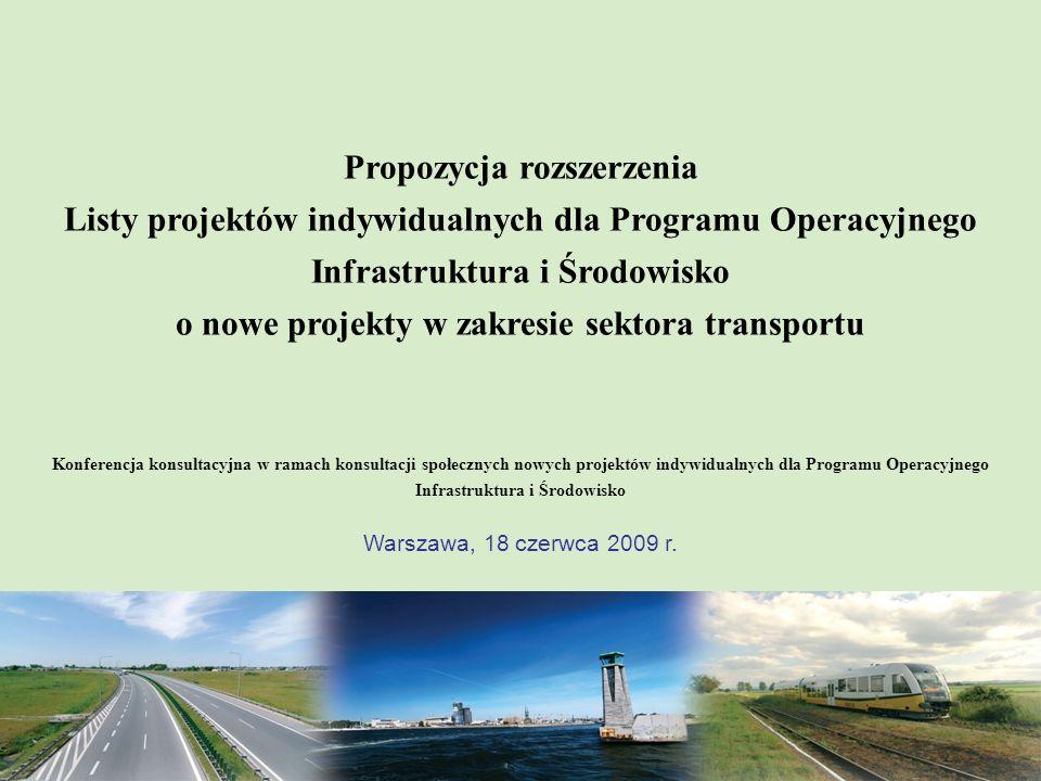 Propozycja nowych projektów w zakresie transportu Ministerstwo Infrastruktury 2 INFORMACJE OGÓLNE: 2 projekty zgłoszone przez Ministerstwo Infrastruktury do umieszczenia na Liście projektów indywidualnych dla Programu Operacyjnego Infrastruktura i Środowisko w zakresie działań: – 7.3 Transport miejski w obszarach metropolitalnych; oraz – 8.2 Drogi krajowe poza siecią TEN-T.