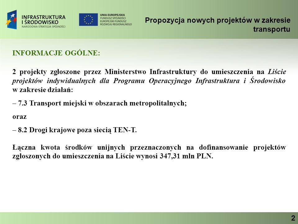 Propozycja nowych projektów w zakresie transportu Ministerstwo Infrastruktury 2 INFORMACJE OGÓLNE: 2 projekty zgłoszone przez Ministerstwo Infrastrukt