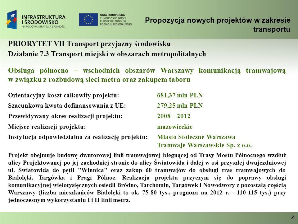 Propozycja nowych projektów w zakresie transportu Ministerstwo Infrastruktury 4 PRIORYTET VII Transport przyjazny środowisku Działanie 7.3 Transport m