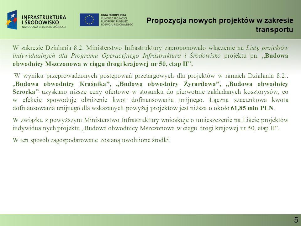 Propozycja nowych projektów w zakresie transportu Ministerstwo Infrastruktury 6 PRIORYTET VIII Bezpieczeństwo transportu i krajowe sieci transportowe Działanie 8.2 Drogi krajowe poza siecią TEN-T Budowa obwodnicy Mszczonowa w ciągu drogi krajowej nr 50, etap II Orientacyjny koszt całkowity projektu: 97,45 mln PLN Szacunkowa kwota dofinansowania z UE: 68,06 mln PLN Przewidywany okres realizacji projektu: 2009 - 2010 Miejsce realizacji projektu: mazowieckie Instytucja odpowiedzialna za realizację projektu: GDDKiA Przedmiotem inwestycji jest budowa końcowego odcinka obwodnicy miasta Mszczonowa od nowowybudowanego Węzła Mszczonów I (na przecięciu dróg krajowych Nr 50 i 8) do zmodernizowanego odcinka drogi krajowej Nr 50.