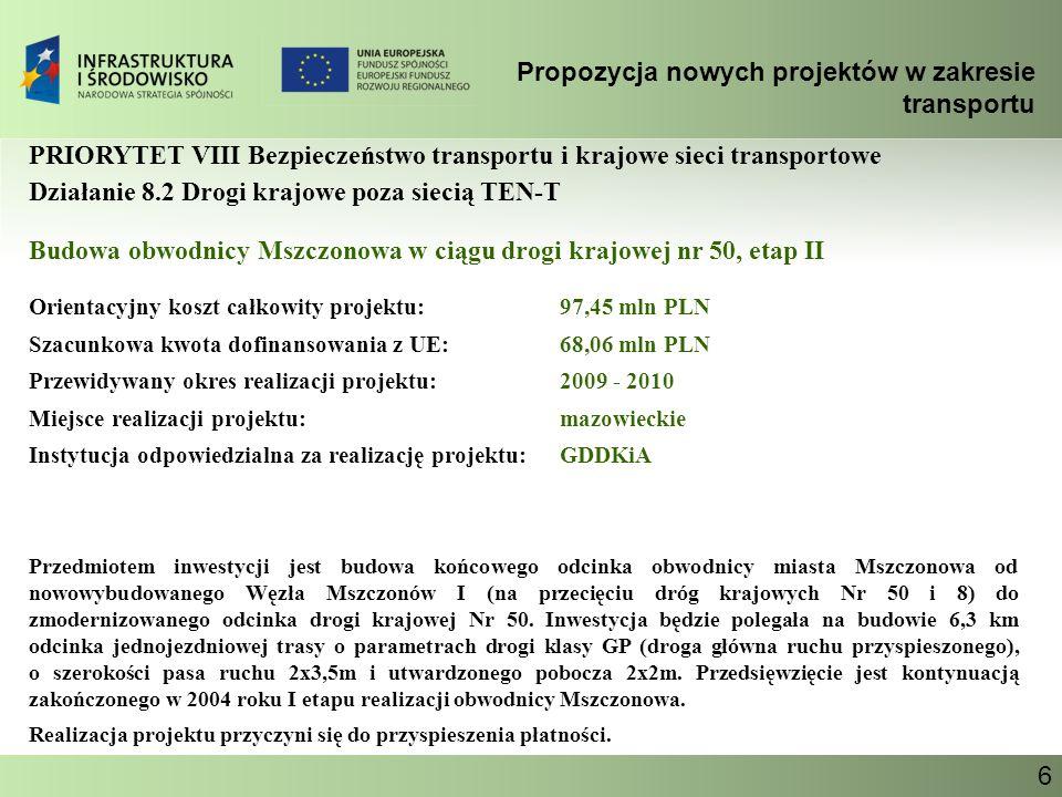 Propozycja nowych projektów w zakresie transportu Ministerstwo Infrastruktury 6 PRIORYTET VIII Bezpieczeństwo transportu i krajowe sieci transportowe