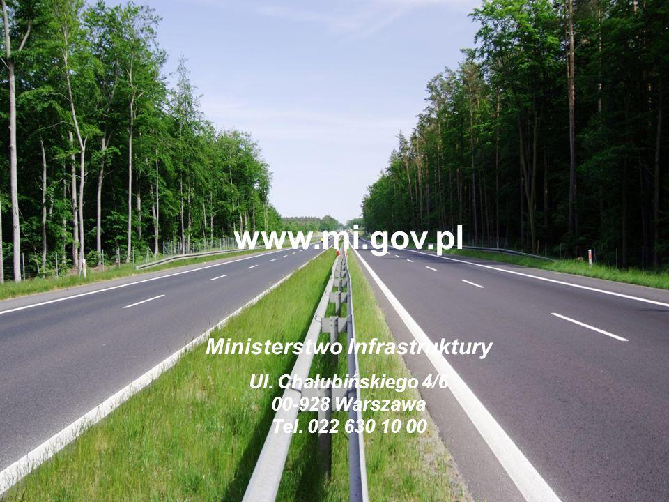 www.mi.gov.pl Ministerstwo Infrastruktury Ul. Chałubińskiego 4/6 00-928 Warszawa Tel. 022 630 10 00