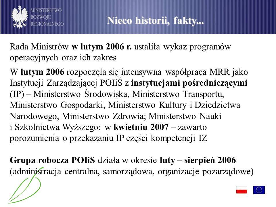 PO Infrastruktura i Środowisko Nieco historii, fakty... Rada Ministrów w lutym 2006 r. ustaliła wykaz programów operacyjnych oraz ich zakres W lutym 2