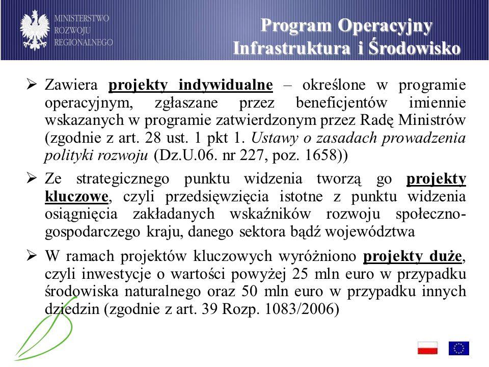 Program Operacyjny Infrastruktura i Środowisko Zawiera projekty indywidualne – określone w programie operacyjnym, zgłaszane przez beneficjentów imiennie wskazanych w programie zatwierdzonym przez Radę Ministrów (zgodnie z art.