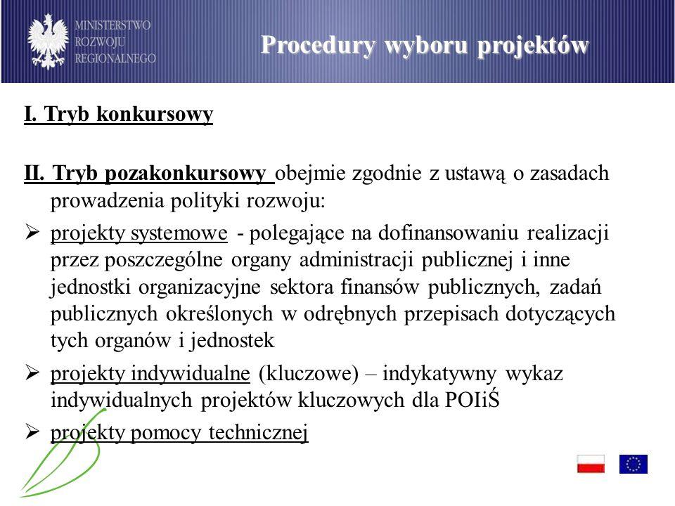 PO Infrastruktura i Środowisko Procedury wyboru projektów I. Tryb konkursowy II. Tryb pozakonkursowy obejmie zgodnie z ustawą o zasadach prowadzenia p