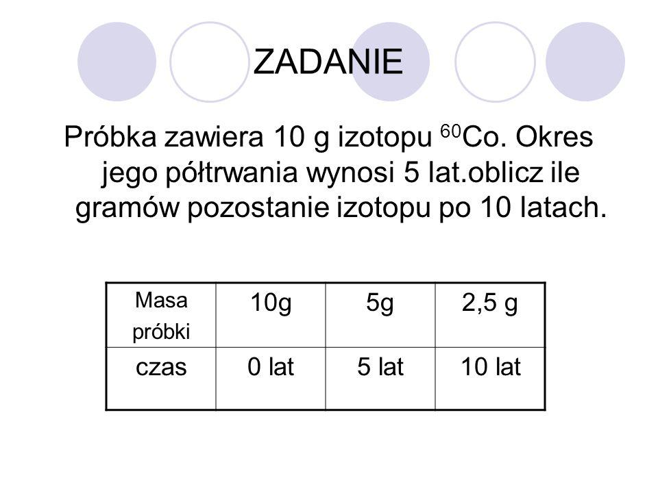 ZADANIE Próbka zawiera 10 g izotopu 60 Co. Okres jego półtrwania wynosi 5 lat.oblicz ile gramów pozostanie izotopu po 10 latach. Masa próbki 10g5g2,5
