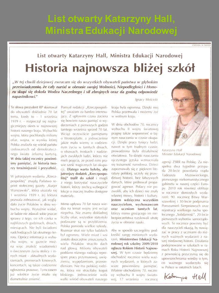 List otwarty Katarzyny Hall, Ministra Edukacji Narodowej