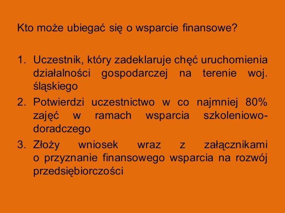 Kto może ubiegać się o wsparcie finansowe? 1.Uczestnik, który zadeklaruje chęć uruchomienia działalności gospodarczej na terenie woj. śląskiego 2.Potw