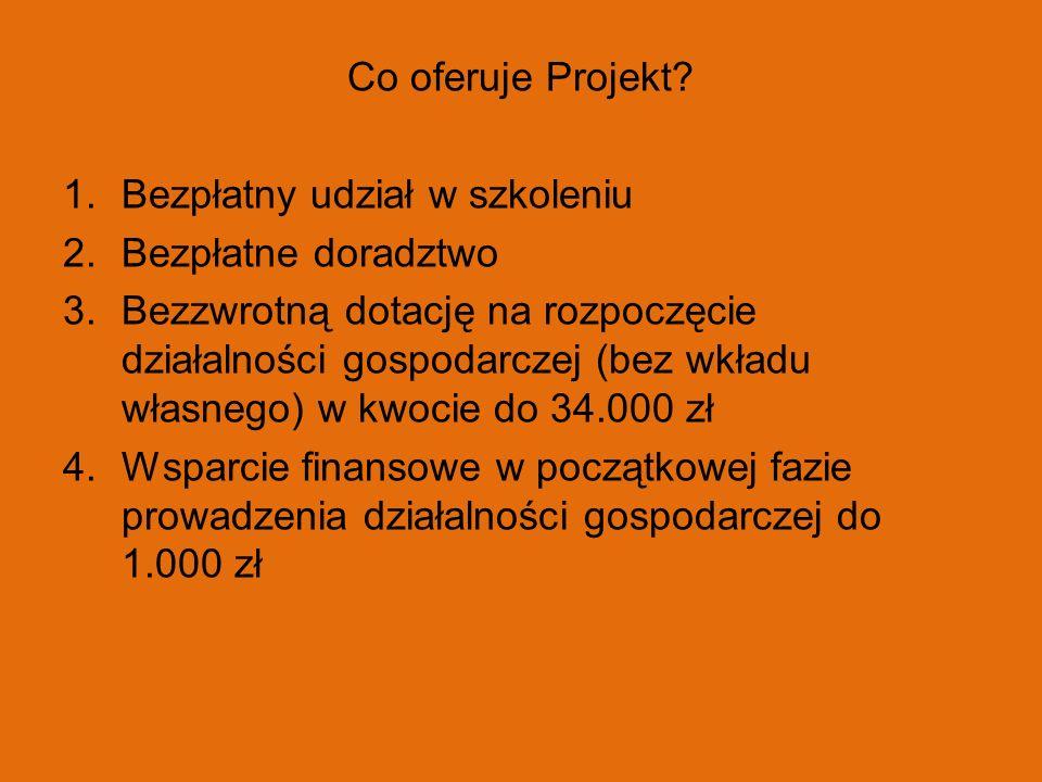 Co oferuje Projekt? 1.Bezpłatny udział w szkoleniu 2.Bezpłatne doradztwo 3.Bezzwrotną dotację na rozpoczęcie działalności gospodarczej (bez wkładu wła
