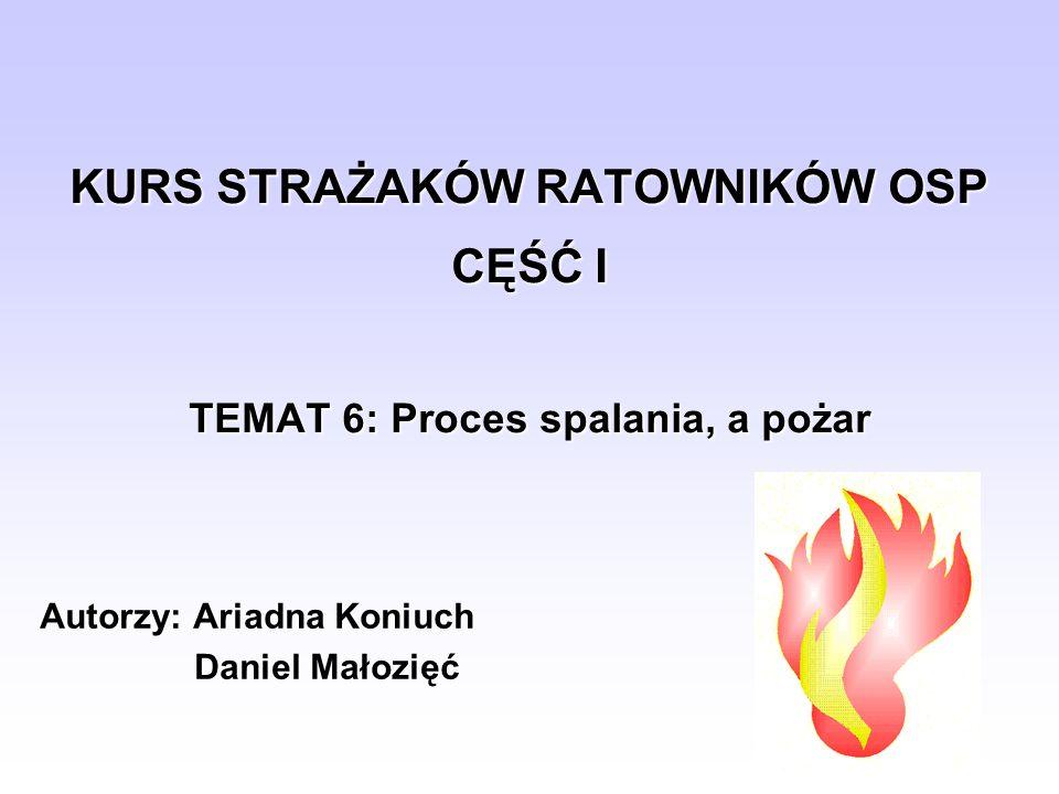 KURS STRAŻAKÓW RATOWNIKÓW OSP CĘŚĆ I TEMAT 6: Proces spalania, a pożar Autorzy: Ariadna Koniuch Daniel Małozięć