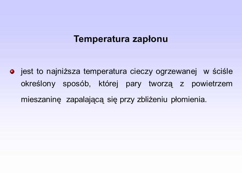 Temperatura zapłonu jest to najniższa temperatura cieczy ogrzewanej w ściśle określony sposób, której pary tworzą z powietrzem mieszaninę zapalającą s