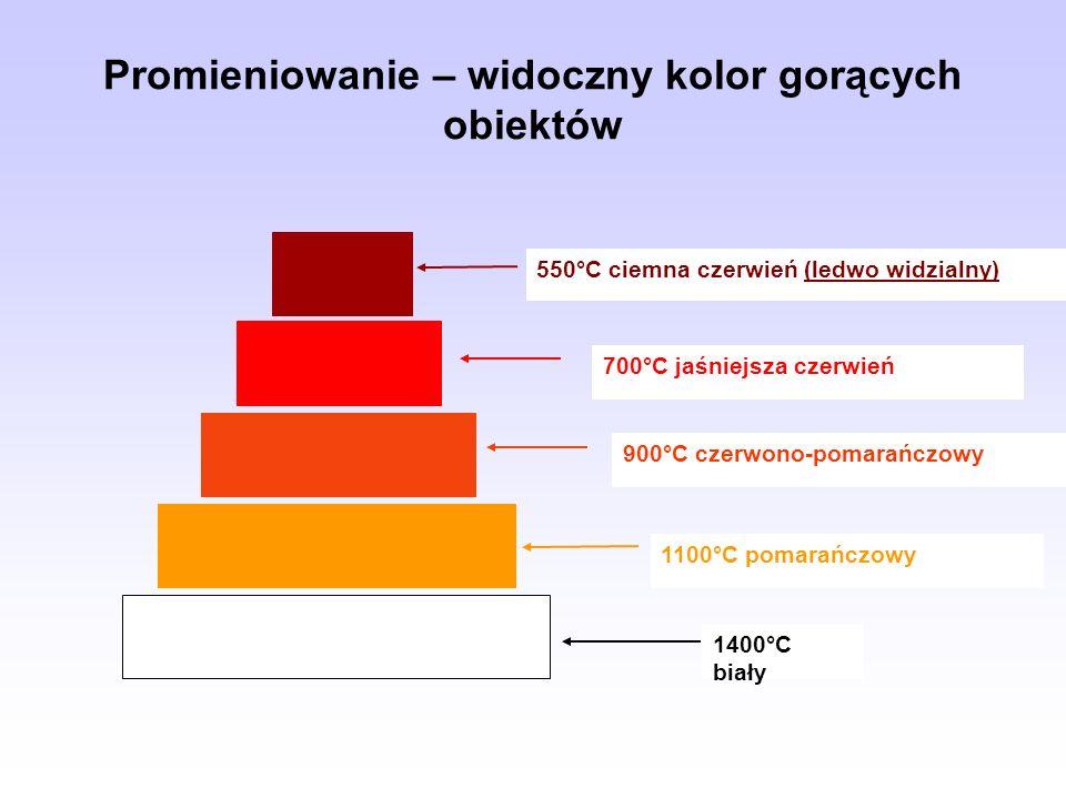Promieniowanie – widoczny kolor gorących obiektów 550°C ciemna czerwień (ledwo widzialny) 700°C jaśniejsza czerwień 900°C czerwono-pomarańczowy 1100°C