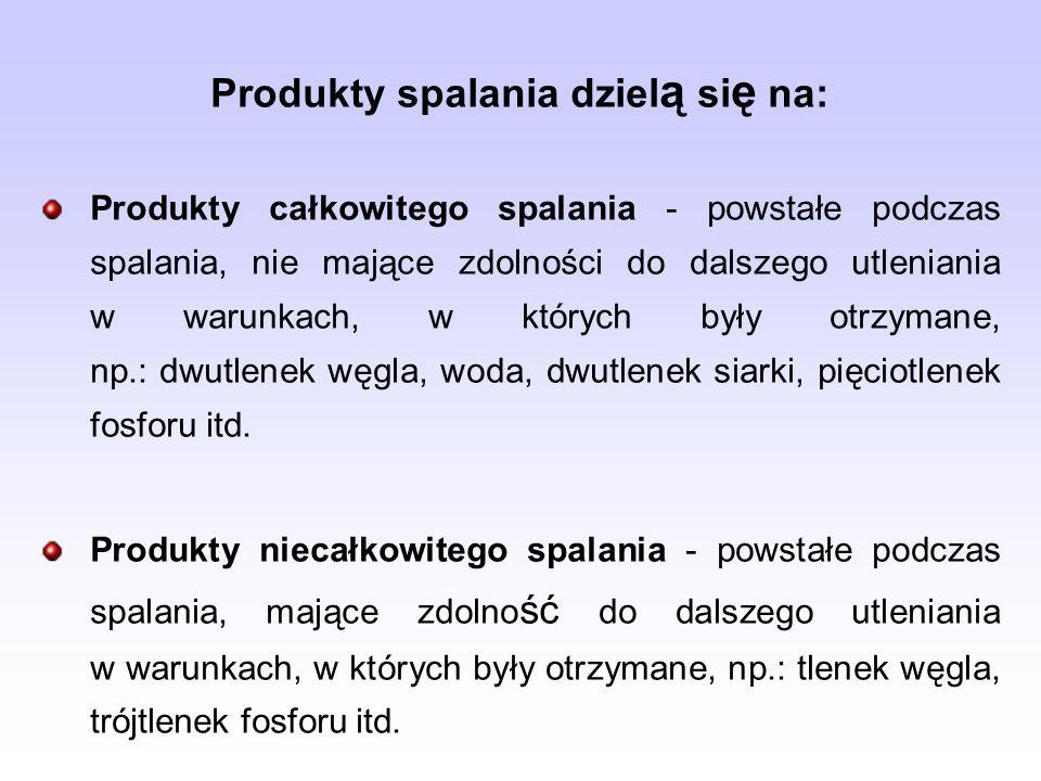 Produkty spalania dziel ą si ę na: Produkty całkowitego spalania - powstałe podczas spalania, nie mające zdolności do dalszego utleniania w warunkach,