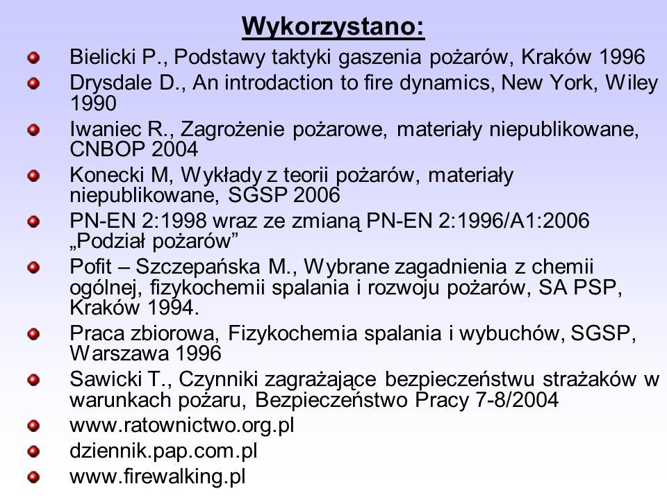 Wykorzystano: Bielicki P., Podstawy taktyki gaszenia pożarów, Kraków 1996 Drysdale D., An introdaction to fire dynamics, New York, Wiley 1990 Iwaniec