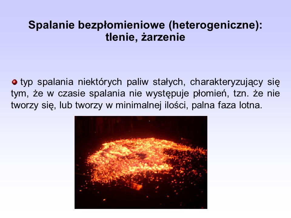 Spalanie bezpłomieniowe (heterogeniczne): tlenie, żarzenie typ spalania niektórych paliw stałych, charakteryzujący się tym, że w czasie spalania nie w